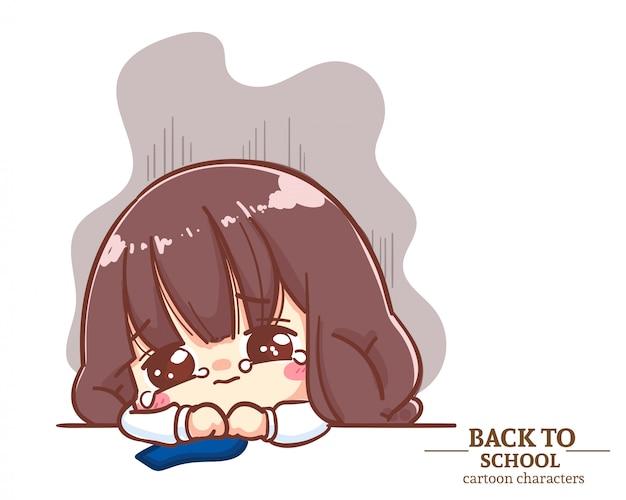 Cute girl dzieci mundury studentów uczucie smutku i płacz z powrotem do szkoły. ilustracja kreskówka premium wektorów