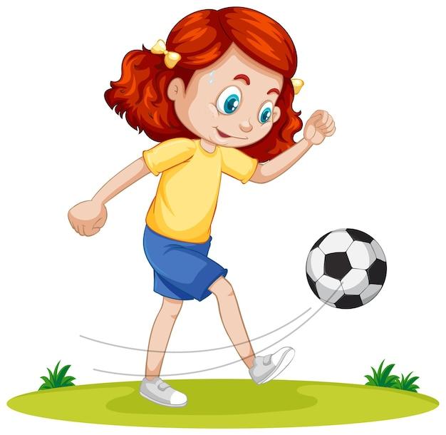Cute girl gry w piłkę nożną postać z kreskówki na białym tle