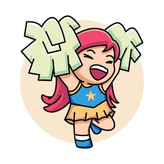Cute girl ilustracja kreskówka cheerleaderka