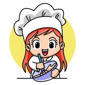 Cute girl ilustracja kreskówka kucharz piekarnia
