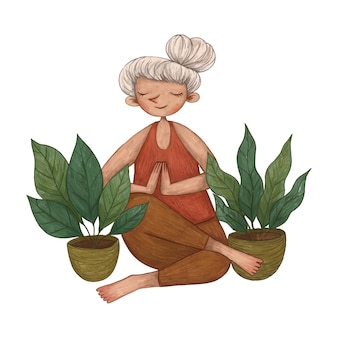 Cute girl ilustracja medytacji, ilustracja kolor ołówka
