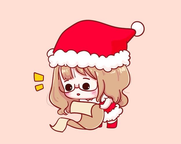 Cute girl in santa claus costume przeglądanie listy nazwisk ilustracji