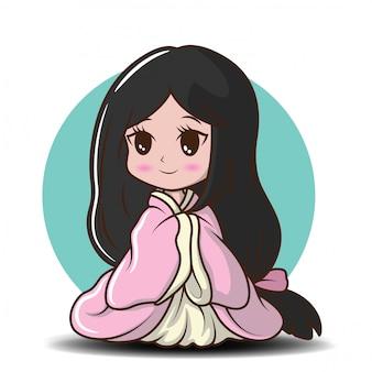 Cute girl japoński w stroju księżniczki., postać z kreskówki