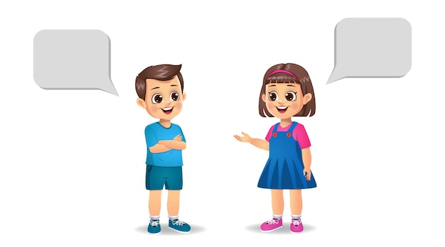 Cute girl kid i boy kid rozmawiają ze sobą