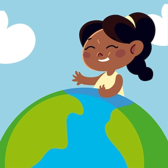 Cute girl na mapie świata kreskówki, ilustracja dzieci
