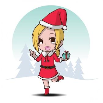 Cute girl on santa costume., postać z kreskówki.