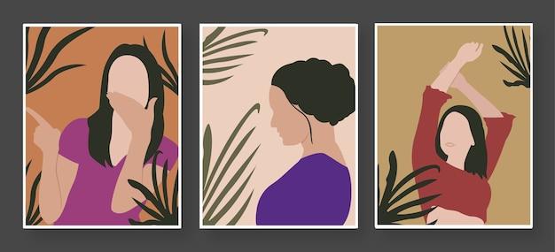 Cute Girl Pose Avatar Illustration - Girl Flat Illustration Premium Wektorów
