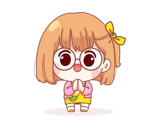 Cute girl trzymając się za ręce w módlcie się, wdzięczni i zwolnieni szczęśliwy ilustracja kreskówka