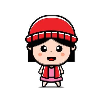 Cute girl wektor ilustracja kreskówka