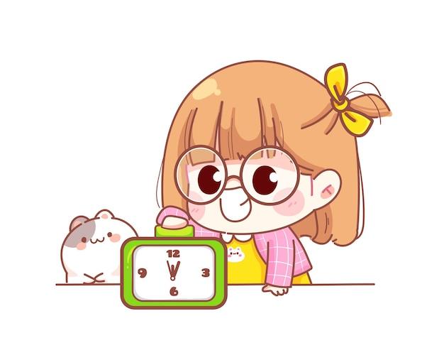 Cute girl wyłącz budzik ilustracja kreskówka