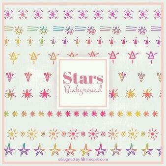 Cute gwiazd i sunburst zestaw akwarela