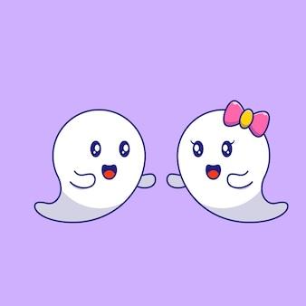 Cute halloween maskotka para duchów. wesołych halloween płaskie ilustracje.