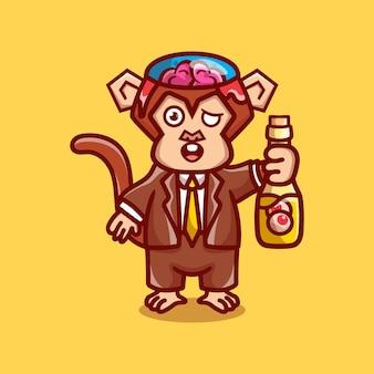 Cute halloween zombie małpa niosąca butelkę do oczu