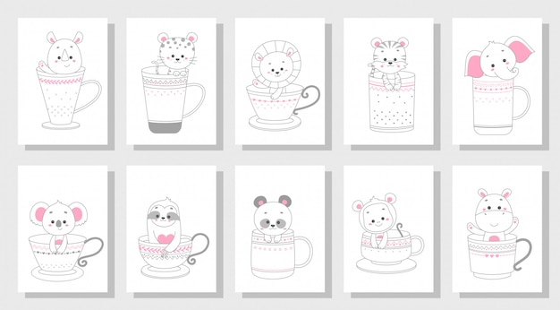 Cute happy animalset
