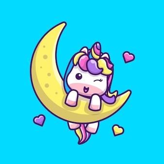 Cute jednorożca na księżycu ikona ilustracji. postać z kreskówki maskotka jednorożca. koncepcja ikona zwierzę na białym tle
