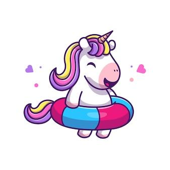 Cute jednorożec pływanie ikona ilustracja. postać z kreskówki maskotka jednorożca. zwierzęcy ikony pojęcia biel odizolowywający