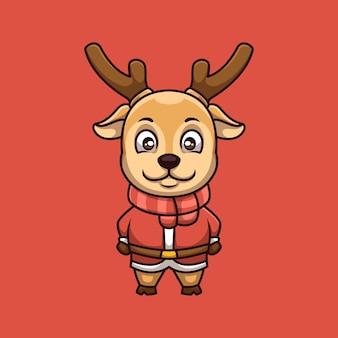 Cute jeleń kreatywne boże narodzenie kreskówka maskotka logo