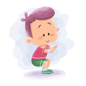 Cute kid robi sport gym fitness joga z rozciąganiem. ilustracja kreskówka akwarela