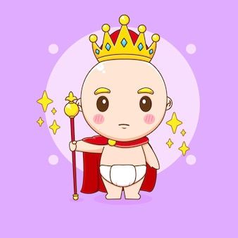 Cute king baby boy with crown and cloak cartoon illustration