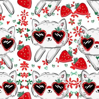 Cute kitten w okularach przeciwsłonecznych i truskawka wzór wektor ilustracja ręcznie rysowane dzieci lato trend wydruku szkic kot