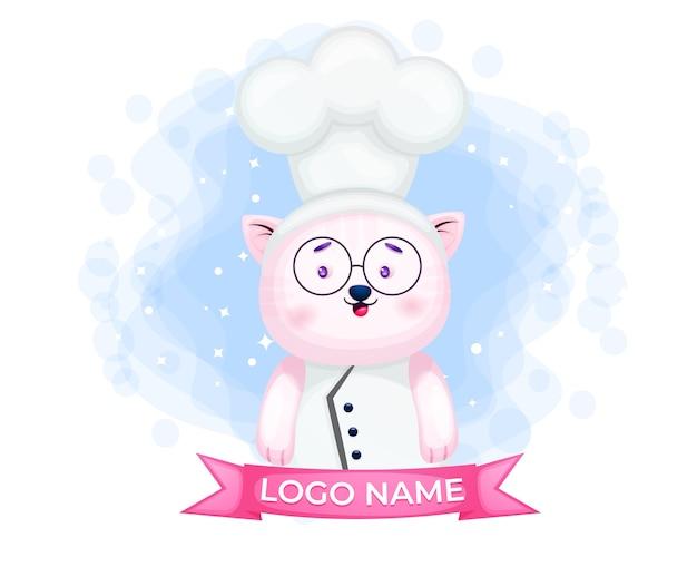 Cute kitty chef logo postać z kreskówki ilustracja śliczna maskotka