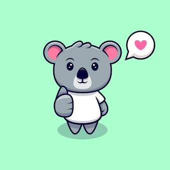 Cute koala kciuki w górę kreskówka maskotka
