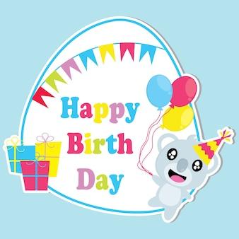 Cute koala przynosi balony i kolorowe ramki wektora cartoon, urodziny pocztówki, tapety i karty okolicznościowe, projektowanie koszulki dla dzieci