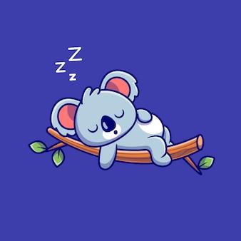 Cute koala spanie na drzewie cartoon. koncepcja ikona natura zwierząt na białym tle. płaski styl kreskówki