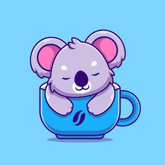Cute koala śpi w pucharze ikona ilustracja kreskówka. koncepcja ikona żywności dla zwierząt na białym tle. płaski styl kreskówki