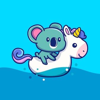 Cute koala z pierścień pływać jednorożec ikona ilustracja. zwierzęce lato ikony pojęcie odizolowywający. płaski styl kreskówek