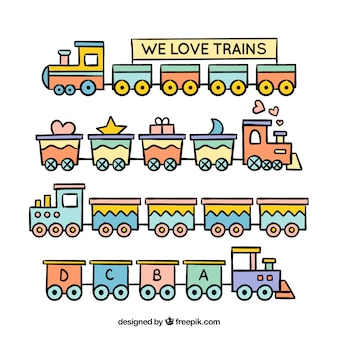 Cute kolekcja zabawek pociągów w płaskim stylu
