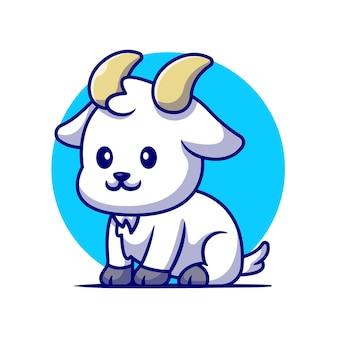 Cute koza siedząca ilustracja kreskówka. koncepcja natury zwierząt na białym tle. płaski styl kreskówki