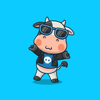 Cute krowa kreskówka rockstar na niebieskim tle