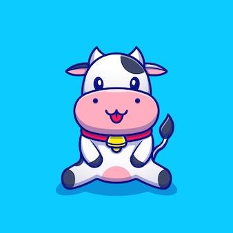 Cute krowa siedzi kreskówka ikona ilustracja. koncepcja ikona zwierząt premium. styl kreskówki