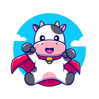 Cute krowa superbohater kreskówka ikona ilustracja.