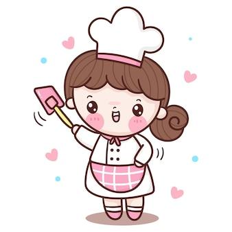 Cute kucharz dziewczyna kreskówka uśmiechnięte dziecko dla piekarni w stylu kawaii