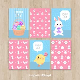 Cute kurczaka i easter bunny kolekcji kart