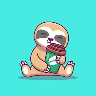 Cute lenistwo z kawą cartoon ikona ilustracji. koncepcja ikona zwierzę na białym tle. płaski styl kreskówek