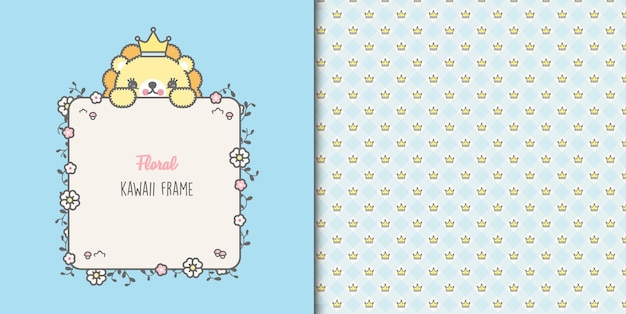Cute lion king baby shower card i wzór korony