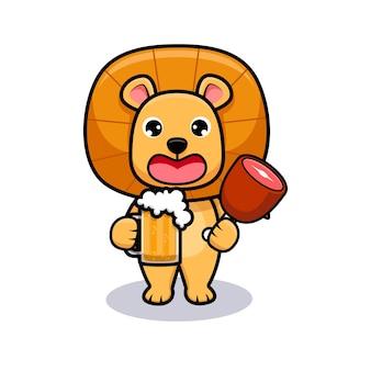 Cute lion king party i picie piwa projekt ikona ilustracja