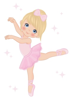 Cute little ballerina dancing