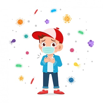 cute little boy boy nosić maskę unikać wirusa