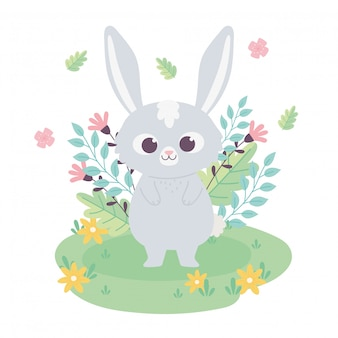 Cute little bunny cartoon animal adorable z kwiatami w trawie