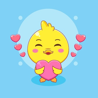 Cute little duck holding love cartoon character illustration