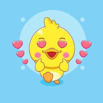 Cute little duck posing love finger cartoon character illustration