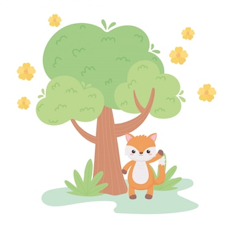 Cute little fox flowers tree meadow cartoon animals in a natural landscape vector illustration