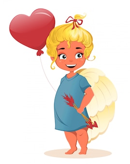 Cute little girl angel. szczęśliwych walentynek