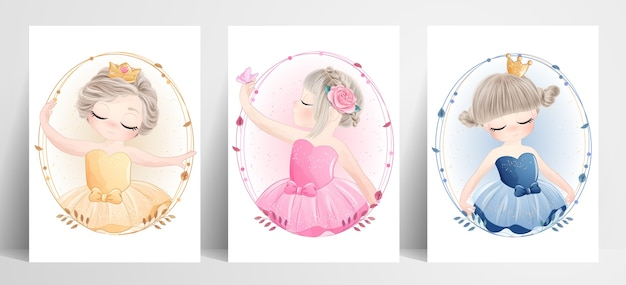 Cute little girl ballerina set z akwarela ilustracja