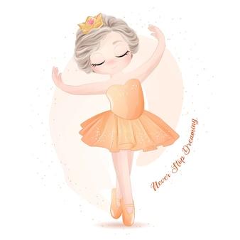 Cute little girl ballerina z akwarela ilustracja