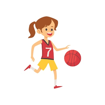 Cute little girl koszykarz w mundurze iz piłką, płaskie płaskie ilustracja na białym tle